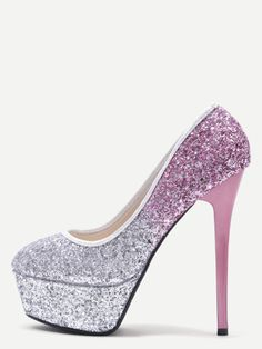 Silver and Pink Sequin Platform Stiletto Pumps