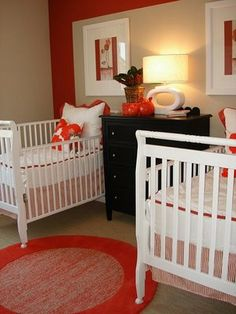 twins nursery - just not with the red color, but like the simplicity of it.