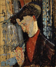 Amedeo  Modigliani      Portrait of the Painter Frank Haviland  (Ritratto del pittore Frank Haviland), 1914 Oil on cardboard, 73 x 60 cm Gianni Mattioli Collection Long-term loan to the Peggy Guggenheim Collection, Venice