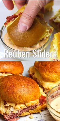Get ready for game day with these Reuben Sliders with Homemade Russian Dressing& an easy to make appetizer that everyone will love! Plus, I've even included a tip for those that don't love sauerkraut! Easy To Make Appetizers, Appetizer Recipes, Dinner Recipes, Game Day Appetizers, Meat Appetizers, Holiday Appetizers, Mini Sandwiches, Vegan Sandwiches, Slider Recipes