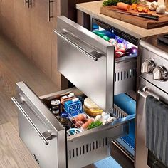 Fridge drawers next to the stove! Genius idea to keep things close for meal prep! @trueresidential : @inspire_me_home_decor