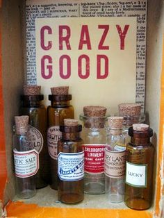 7 Gypsies apothecary bottles for altering