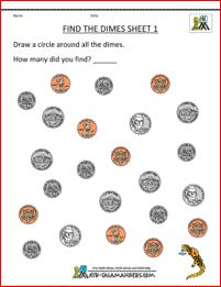 free math money worksheets find the nickels 1 Counting Money Worksheets, Money Activities, Printable Math Worksheets, Kindergarten Math Activities, Homeschool Math, Kindergarten Worksheets, Division Activities, Maths, Free Printable