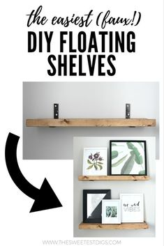 The easiest tutorial for DIY floating shelves. These reclaimed wood shelves are faux floating shelves and you won't believe how simply they are to install! - March 16 2019 at Diy Home Decor, Cheap Home Decor, Floating Shelves, Diy Bathroom, Shelves, Diy Furniture, Interior, Room Design, Home Decor