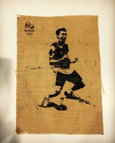 Lee Chong Wei, Malaysian badminton athlete, print on burlap