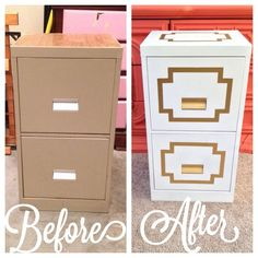 Liquid Leaf filing cabinet   Leaves, Gold furniture and Spray painting