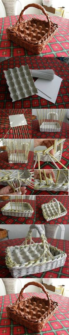 Cut egg carton piece to fit any basket already on hand. DIY Woven Paper Easter Egg Basket and Tray Too. For gathering daily eggs or Easter. Diy Projects To Try, Craft Projects, Easter Egg Basket, Easter Eggs, Papier Diy, Diy Y Manualidades, Egg Carton Crafts, Paper Weaving, Diy Ostern