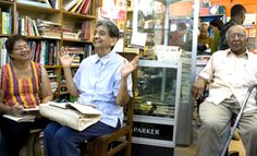 "Blanche Rocha D'Souza speaking about her book ""Harnessing the Trade Winds"" at the Meet the Author programme of the Goa Book Club at Broadway Book Centre in Panjim, Goa, on June 23, 2012. To Blanche's right is Brenda Menezes and to the left is Fitz D'Souza. Blanche and Fitz still live in East Africa - Kenya."