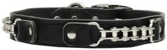 Bike Chain Genuine Leather Dog Collar Black by DogcollarScar