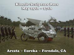 Kinetic Sculpture Race May 25th thru May 27th. Arcata, Eureka and Ferndale California ARTh heART