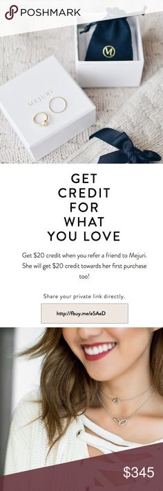 Mejuri Referral Code Sharing my referral code for the Mejuri website, which gets you $20 off your 1st purchase!!! They're always adding new items and doing collabs with fashion gurus like Jenn Im!                                                                           Link to obtain discount: http://fbuy.me/e5AeD Kendra Scott Jewelry Necklaces
