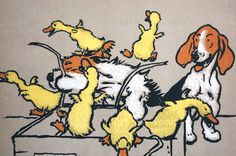 Cecil Aldin Dog Print c1900 Ducklings Out of Box FOX HOUNDS BEAGLES - Matted Art #Vintage