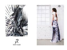 2015 Spring/Summer collection  maxi skirt with individual pattern and white top with black and red stripes on the back