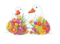 Springtime Ducks 8 x 10 Floral Art Print Nursery Art Animal Art. $18.00, via Etsy.