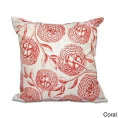 E by Design Antique Flowers Floral 20 x 20-inch Outdoor Pillow