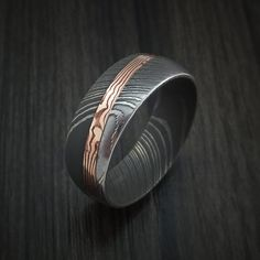 Damascus Steel Ring with Diagonal Rose Gold Mokume Inlay Custom Made – Revolution Jewelry