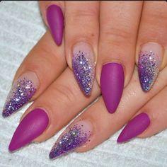 Matte Purple Almond Acrylic Nails w/ Glitter
