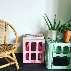 Evian bottle crates. Pastel colours.