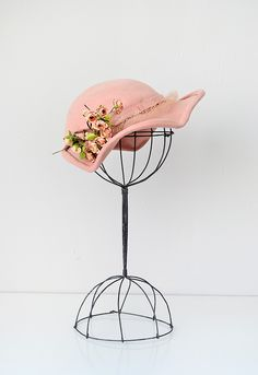 vintage 1930s pink wool felt hat millinery flowers. I have the hat stands, found at garage sale years ago.