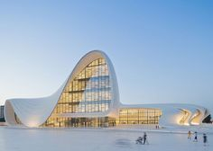 """Award-winning architect Zaha Hadid has sadly passed away at age 65. The architecture world has lost a true visionary. Here's her design for the Heydar Aliyev Centre in Azerbaijan. Photo by Iwan Baan."" via @dwellmagazine"