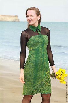 """Купить Платье """"Green"""" - зеленый, абстрактный, коктельное платье, войлок, вечерний наряд, классический стиль"""