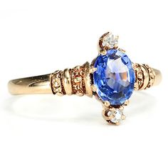 Antique Sapphire Diamond Beauty in a 19th C. Ring - The Three Graces