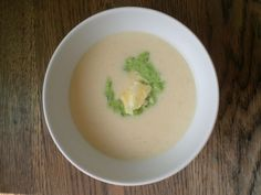 Cauliflower and Cheese Soup with Watercress and Pea Purée