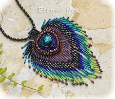 Peacock feather embroidered beaded necklace with by ElenNoel