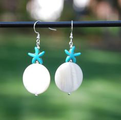 Turquoise and shell with sterling silver earrings. Beach earrings, shell earrings, starfish earrings, handmade earrings, turquoise earrings by KarmaKittyJewelry on Etsy