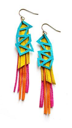 Geometric Leather Earrings Turquoise Geometric door BooandBooFactory