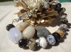 CIJ Chalcedony & Moss Opal Bead Bracelet by FeminineGenius on Etsy, $32.00