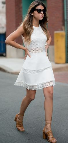 #summer #cute #outfits | White Eyelet Dress + Camel Sandals