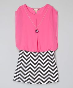 Look at this Speechless Pink & Black Chevron Blouson Dress & Necklace - Girls on #zulily today!