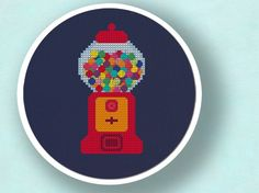 +This item is available for instant digital download*  A colorful gumball machine counted cross stitch pattern! Use the cross-stitch pattern to