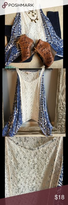 Altar'd State handkerchief hem and lace top❤️❤️ Altar'd State handkerchief hem top with lace inset. The lace is sheer as shown in third picture.the handkerchief hem features a floral and paisley blue pattern. This top was gently worn once or twice. Altar'd State Tops Blouses