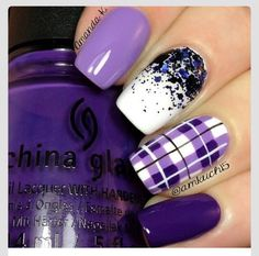 Hey there lovers of nail art! In this post we are going to share with you some Magnificent Nail Art Designs that are going to catch your eye and that you will want to copy for sure. Nail art is gaining more… Read more › Get Nails, Fancy Nails, Love Nails, Cute Toe Nails, Plaid Nail Art, Plaid Nails, Purple Nail Designs, Nail Art Designs, Nails Design