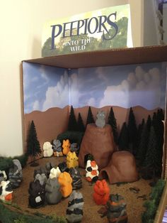 "The popular Erin Hunter book series, ""The Warriors"" was the inspiration for 13-year-old Rebecca Mays of Fairfax to created this diorama. It represents a scene from the first Warriors book, ""Into the Wild."" Using descriptions provided in the novel, the Peeps were painted accurately and placed with precision around the diorama with each cat accounted for. Notice the mother cats in the far left corner with their kittens, and the leader of the cats standing proudly atop the rock.  #PEEPS"