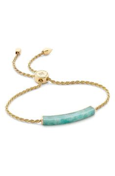 Inspired by traditional friendship bracelets, the delicate piece has woven vermeil chains and an architectural slab of luminous semiprecious stone.
