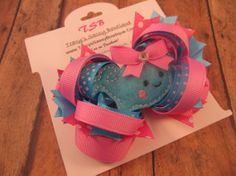 Summer Whale Stacked OTT Boutique Hair Bow by TracysSassyBowtique, $7.99