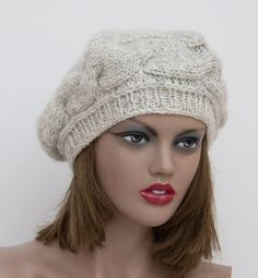 Light Gray grey   knit hat ,womens knit hats, knitted hat, knit beret, womens…