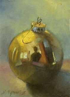 Gold Christmas Ornament , painting by artist Hall Groat II (Ghosts of Christmas idea) Gold Christmas Ornaments, Christmas Artwork, Christmas Drawing, Christmas Paintings, Merry Christmas, Painting Still Life, Still Life Art, Watercolor Paintings, Original Paintings