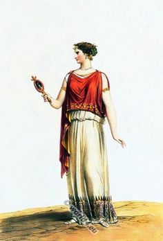 Ancient Greek lady from Sicily 400 BC wearing an ionic chiton. Over the chiton she wears the himation.
