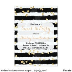 Modern black watercolor stripes chic gold Sweet 16 Card Celebrate and invite with friends to your sweet sixteen birthday with this modern, elegant and abstract black and white watercolor brushstrokes stripes pattern with modern and trendy faux gold glitter confetti pattern. A stylish and chic design.