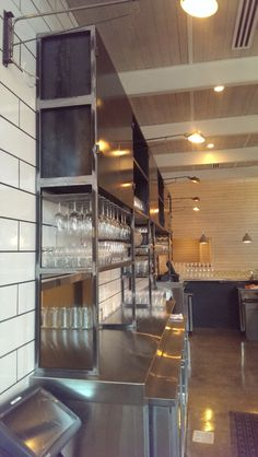 Steel back bar by Metal Fred Designs for Butchertown Hall in Nashville TN