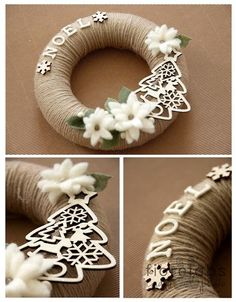 Corona de Navidad - Christmas Weath - site is in Italian, but there is a translator. I'm guessing wrapping yarn/jute around a styrofoam wreath. Use of a Sizzix, cut wood imbelishments, and purchased flowers. Christmas Makes, Rustic Christmas, All Things Christmas, Handmade Christmas, Christmas Holidays, Christmas Ornaments, Christmas Door, Beautiful Christmas, Christmas Projects