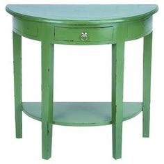 "One-drawer demilune console table with a bottom display shelf and distressed green finish.    Product: Console tableConstruction Material: WoodColor: Light blueFeatures: One drawer and shelfDimensions: 30"" H x 32"" W x 16"" D"