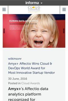 Amyx+ Affectio Wins Most Innovative Award. https://blog.cloudworldseries.com/2016/06/30/amyx-affectio-wins-cloud-devops-world-award-for-most-innovative-startup-vendor/ #IoT #AI #Data