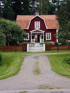 Dream house, Dutch Colonial, small front porch, red with white trim. Swedish Cottage, Red Cottage, Cottage Homes, Cottage Style, Colonial Cottage, Red Houses, White Houses, Sweden House, Small Front Porches