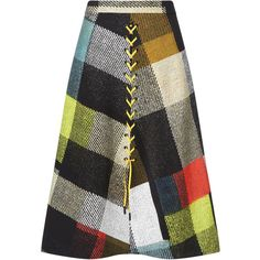 Preen by Thornton Bregazzi Multi A-line Plaid Astor Skirt ($405) ❤ liked on Polyvore featuring skirts, colorful skirts, tartan skirt, patchwork skirt, a line plaid skirt and tartan plaid skirt