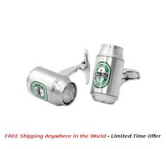Beer Can Cufflinks Price: USD $25 Details: These Beer Cufflinks are made from Brass-Alloy base metal, silver and green enamel coloring and detailing. Exclusive new design with very detailed work and finishing. Each Pair is packed in Black Exclusive Rudolph Alexander Gift Box.  #rudolphAlexander #freeshipping #cufflinks #seller #sellershop #sellers #gift #metal #giftbox #silver #beer #beerCufflink